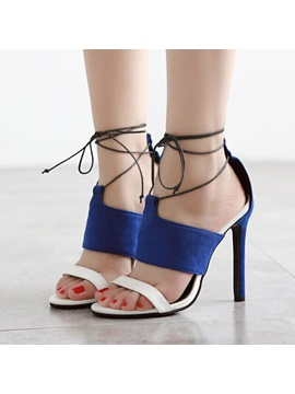 Suede Stiletto Heel Lace Up Sandals