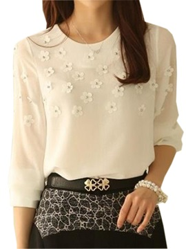 Chic Appliques Decoration Three Quarter Sleeves Blouse