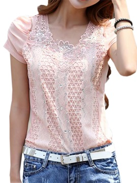 Chic Sequins Decoration Collar Slim Lace T Shirt