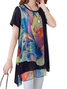 Special Color Block Asymmetrical Hem Blouse