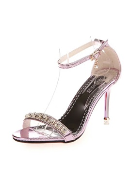 Pu Rhinestone Stiletto Heel Sandals