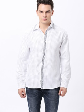 Polka Dots Printed Mens Cotton Blends Shirt