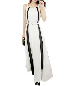 Contrast Sleeveless Slim Maxi Dress
