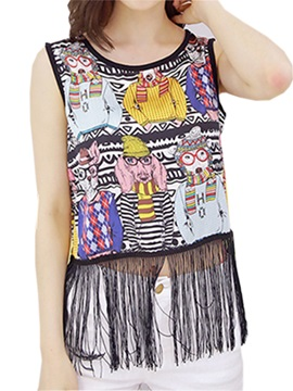 Cute Pattern Tassel Hem Slim Tank Top