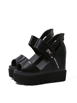 Black Peep Toe Zippered Wedge Sandals