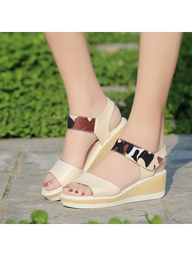 Pu Printed Velcro Wedge Sandals