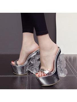 Metallic Butterfly Slip On Wedge Sandals