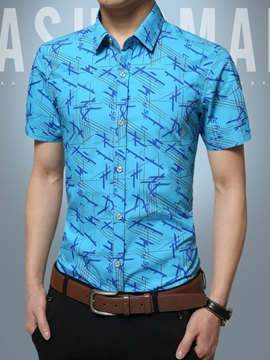 Slim Fit Floral Printed Mens Short Sleeve Shirt