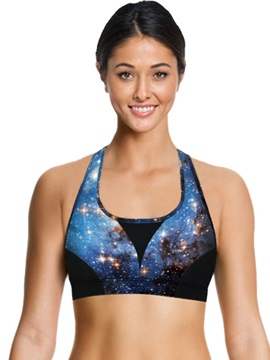 Spandex Galaxy Printed Women Sports Tank