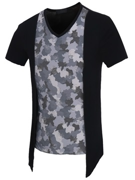 Camouflage Double Layer Mens V Neck Tee