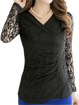 Special V Neck Lace Sleeves Slim T Shirt