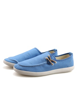 Solid Color Thread Slip On Canvas Shoes