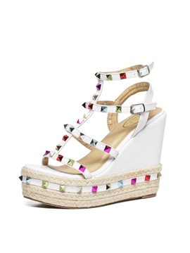 Pu Rivets Crochet Wedge Sandals