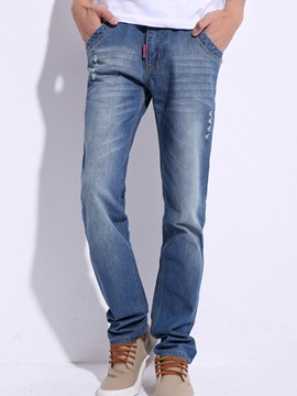 Medium Wash Straight Mens Jeans
