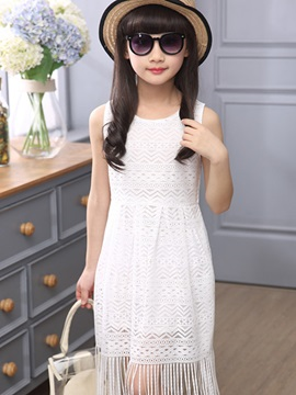 Lace Crochet Tassel Girls Dress