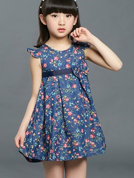 Floral Print Belted Girls Dress