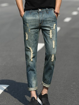 Slim Fit Hole Mens Ninth Jeans