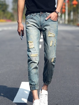 Worn Mens Cropped Jeans