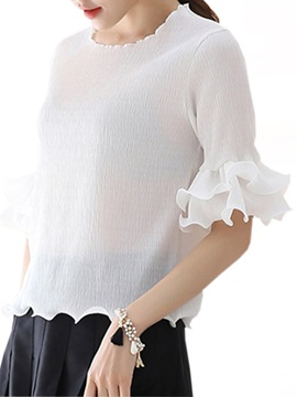 Double Layer Hem Slim Blouse