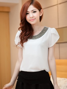 Special Sequins Decoration Collar Slim Blouse