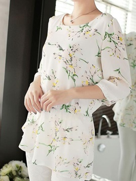 Rural Style Floral Printed Blouse
