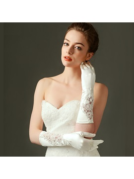 Beautiful Hollow Satin Wedding Gloves