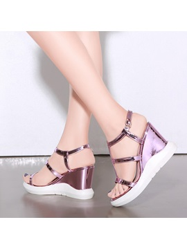 Solid Color Pu T Strap Wedge Sandals