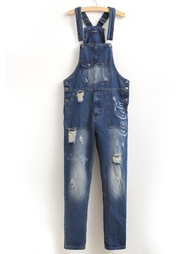 Worn Medium Wash Mens Suspender Jeans