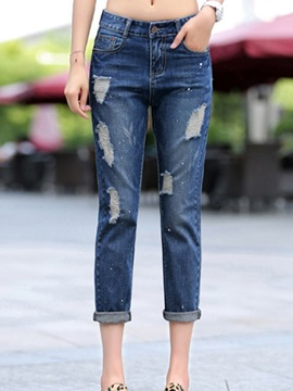 Skinny Leg Hole Decorated Womens Jean