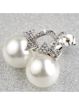 Graceful Bowknot Pearl Women Earrings