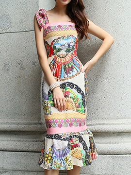 Backless Print Sleeveless Bodycon Dress