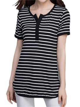 Special Collar Slim Stripe T Shirt