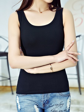 Casual Round Collar Slim Tank Top