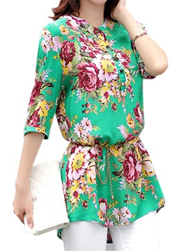 Floral Printed Half Sleeves Blouse