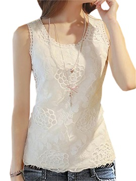 Stylish Round Collar Lace Tank Top