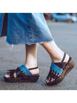 Pu Tassels Slingback Wedge Sandals