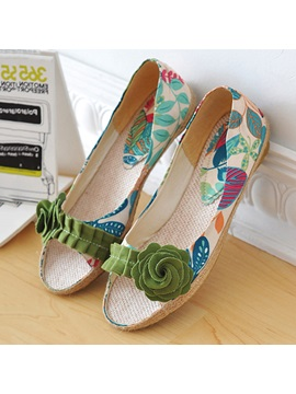 Floral Printed Applique Slip On Flats