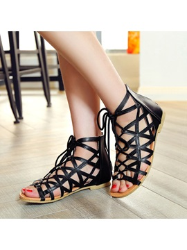 Strappy Pu Lace Up Flat