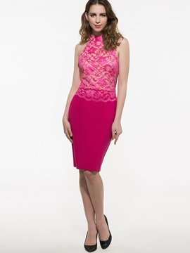 Solid Color Lace Patchwork Sleeveless Bodycon Dress