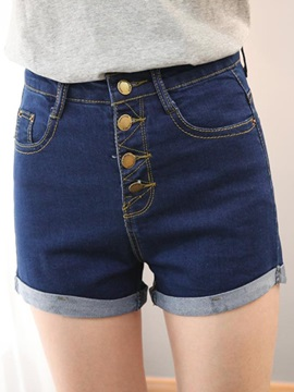 Slimming Button Front Flanging Shorts