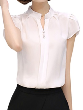 Chic Petal Sleeves Slim Shirt