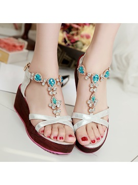 Boho Diamond Buckles Wedge Sandals