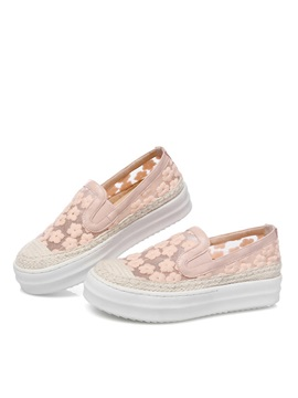 Embroidered Mesh Slip On Loafers