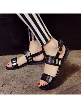 Pu Sequins Buckles Flat Sandals