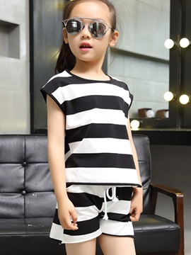Stripe T Shirt And Shorts Girls Outfit