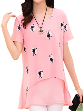 Cute Animal Pattern Chiffon Blouse