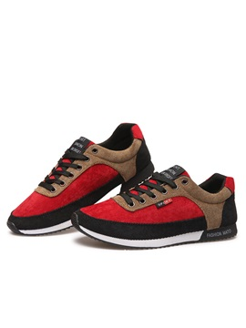 Suede Color Block Lace Up Sneakers