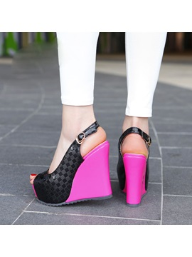 Embossed Pu Peep Toe Wedge Heel Sandals