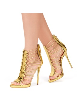 Metallic Strappy Back Zip Stiletto Heel Sandals