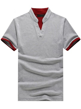 Color Block Short Sleeve Mens Stand Collar Polo